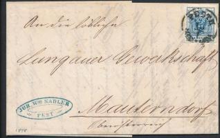 1858 9kr levélen PESTH - WIEN - Mautendorf, benne színes számla