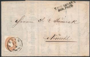 1863 10kr levélen PESTH / Abends - NEUSOHL, benne díszes számla