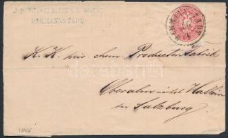 1866 5kr levélen HERMANNSTADT - SALZBURG - Hallein