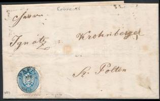 1864 10kr levélen PÁPA - WIEN - ST. PÖLTEN / Bahnhof