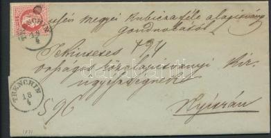 1871 5kr levélen, hátoldalán levélbontáskor ketté vágott 2x5kr TRENCHIN - NYITRA