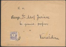 1888 2kr horvát nyelvű nyomtatványon OSIEK - Varazdin