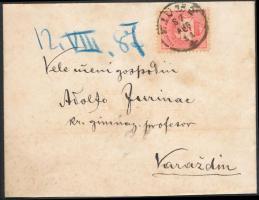 1887 5kr levélen FIUME - Varazdin