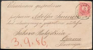 1886 5kr levélen VARASD / VARAZDIN - Oriovac
