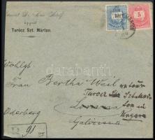 1886 5kr + 10kr ajánlott levélen TURÓCZ SZT. MÁRTON - LOMNA visszaküldve