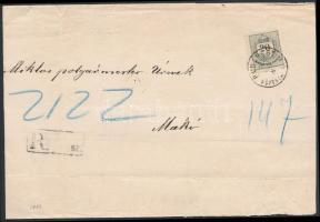 1887 20kr ajánlott levélen BUDAPEST / FŐPOSTA - MAKÓ