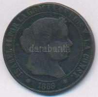 Spanyolország 1868OM 5c Cu II. Izabella T:2-,3 ph. Spain 1868OM 5 Centimos Cu Isabella II C:VF,F edge error Krause KM#635.1