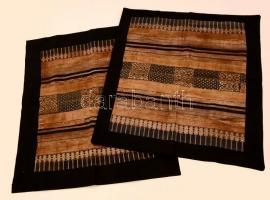 2 db gazdagon díszített dohányzóasztal-terítő, patchwork, 56,5×53 ill. 59,5×51,5 cm