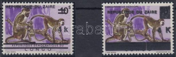 Monkey stamp with double overprint 2 types, Majom kettős felülnyomású bélyeg 2 típusa