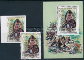 Mandrill perf and imperf stamp + block, Mandrill vágott és fogazott bélyeg + blokk forma