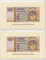 2000. 2000Ft Millennium (2x) eredeti bontatlan csomagolásban, sorszámkövetők T:I