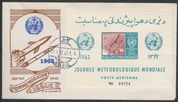 1962 Meteorológia világnapja blokk Mi 42B alkalmi borítékon