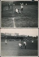 Régi idők focija, jelenetek futballmérkőzésekről, 3 db fotó, felületén törésnyomokkal, egyiken hiánnyal, 13x18 cm