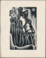 Anna Grmelova: Szürreális alak. Fametszet, papír, 10,5×6,5 cm
