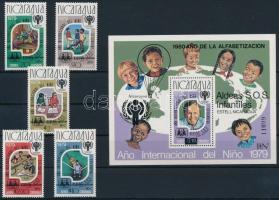 1980 Nemzetközi Gyermekév sor SOS Gyermekfalu felülnyomással Mi 2154-2158 + blokk Mi 133