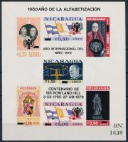 1980 Pápa blokk (Mi 51B) Nemzetközi Gyermekév, Analfabetizmus elleni kampány, Rowland Hill felülnyomással Mi 116
