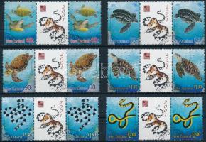 Marine reptiles set in coupon pairs, Tengeri hüllők sor szelvényes párokban