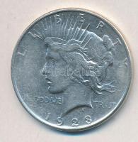 Amerikai Egyesült Államok 1923D 1$ Ag Peace tanúsítvánnyal T:2,2- apró ph.  USA 1923D 1 Dollar Ag Peace with certificate C:XF,VF tiny edge error Krause KM#150