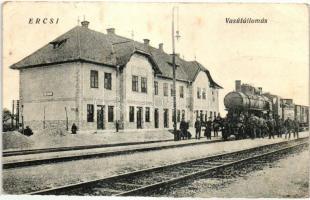 Ercsi, vasútállomás, gőzmozdony, vasutasok, Hangya fogy. szövetkezet kiadása (b)