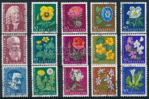1958-1960 3 diff Pro Juventutea set, 1958-1960 3 klf Pro Juventute,virág sor
