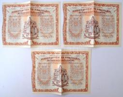 Budapest 1917. Hadsegítési és Népjóléti nyereménykölcsön nyereménykötvények 40K-ról, szárazpecséttel (5x), sorszámkövetők T:III