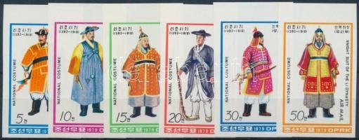 Folk costumes of Li Dynasty margin imperf set, A Li-dinasztia tradicionális viselete ívszéli vágott sor