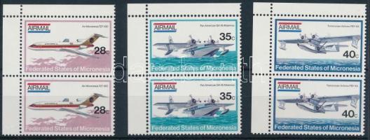 1984 Repülőgépek sor ívsarki párokban Mi 21-23