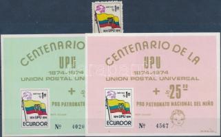 1974 100 éves az UPU bélyeg Mi 1629 + 2 db blokk Mi 66-67