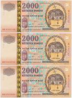 2000. 2000Ft Millennium (3x) sorszámkövetők T:I,I-