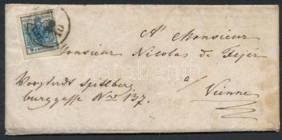 1854 9kr levélen HATVAN - PESTH - WIEN