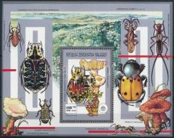 1993 Cserkész, rovarok és gombák blokk arany felülnyomással Mi 213 A