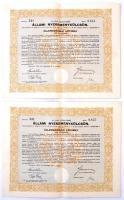 Budapest 1941. 4%-kal kamatozó állami nyereménykölcsön - államadóssági kötvény 200P-ről (3x) szárazpecséttel, szelvényekkel, sorszámkövetők T:II,III egyiken szakadás