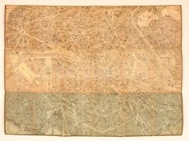 cca 1880 Párizs térképe, papír, vászonra kasírozva, francia nyelven, 44x60 cm.