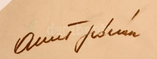 Albert Flórián (1941-2011) nyomtatott aláírása egy őt ábrázoló Sportpropaganda kiadványon.