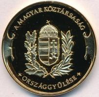 Bozó Gyula (1913-2004) DN Magyar Köztársaság Országgyűlése aranyozott fém emlékérem eredeti dísztokban (42,5mm) T:PP felületi karc