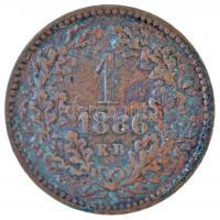 1886KB 1kr Cu Középcímer T:2,2- patina Adamo M4.1