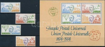 1974 UPU sor Mi 497-500 + blokk Mi 4