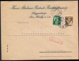 1945 (2. díjszabás) Cenzúrázott távolsági levél Hadvezérek 1P, 2P bérmentesítéssel (hajtóka hiányzik)