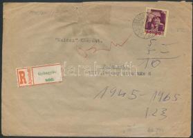 1945 (2. díjszabás) Ajánlott távolsági levél Kisegítő 15x20f/1f + 5P/5P bérmentesítéssel (sérült boríték)