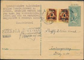 Inflation cover, (2. díjszabás) Távolsági 18f-es díjjegyes levelezőlap Kisegítő 1P/20f párral bérmentesítve, filatéliai tartalommal