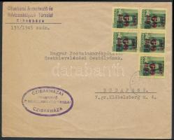 1945 (2. díjszabás) Távolsági levél Kisegítő 60f/8f ötöstömbbel bérmentesítve