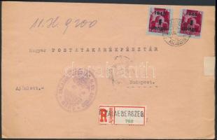 1945 (2. díjszabás) Ajánlott távolsági levél Kisegítő 2x4P/30f bérmentesítéssel, a ragjegyen a helységnév gumibélyegzővel lett feltüntetve, egyházi bélyegzés