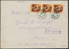1945 (2. díjszabás) Cenzúrázott távolsági levél Kisegítő 1P/20f hármascsíkkal bérmentesítve
