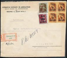 1945 (3. díjszabás) Ajánlott helyi levél Kisegítő 1P/20f négyestömb + 2P/2P + 20P/30f bérmentesítéssel (boríték szétnyitva)