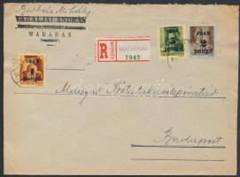 1945 (2. díjszabás) Ajánlott távolsági levél Kisegítő 1P/20f + 2P/4f + 5P/8f bérmentesítéssel, ragjegyre a helységnév gumibélyegzővel lett feltüntetve (boríték szétnyitva)