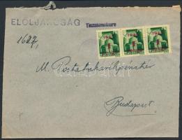 1945 (2. díjszabás)Távolsági levél Kisegítő 1P/1P hármascsíkkal bérmentesítve