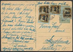 1945 (4. díjszabás)Távolsági levelezőlap Kisegítő 4x10P/80f bérmentesítéssel