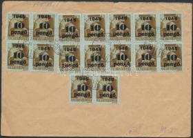 1945 (4. díjszabás) Helyi ajánlott levél Kisegítő 16x10P/80f bérmentesítéssel, a ragjegyen a helységnév gumibélyegzéssel