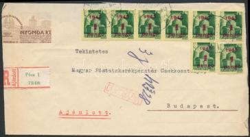 1945 (2. díjszabás) Cenzúrázott ajánlott távolsági levél Kisegítő 8x1P/1P bérmentesítéssel (boríték szétnyitva, hajtóka hiányzik)