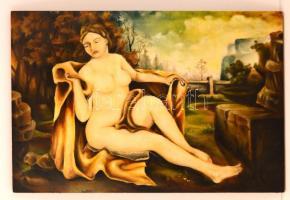 Jelzés nélkül: Ülő női akt. Olaj, funér, festék hibákkal, 54×82 cm